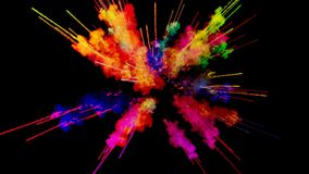 Πυροτέχνημα του χρώματος, έκρηξη της ζωηρόχρωμης σκόνης που απομονώνεται στο μαύρο υπόβαθρο τρισδιάστατη ζωτικότητα ως ζωηρόχρωμη διανυσματική απεικόνιση