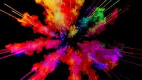 Πυροτέχνημα του χρώματος, έκρηξη της ζωηρόχρωμης σκόνης που απομονώνεται στο μαύρο υπόβαθρο τρισδιάστατη ζωτικότητα ως ζωηρόχρωμη απεικόνιση αποθεμάτων