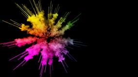 Πυροτεχνήματα από τα χρώματα που απομονώνονται στο μαύρο υπόβαθρο με τα συμπαθητικά ίχνη έκρηξη της χρωματισμένου σκόνης ή του με διανυσματική απεικόνιση