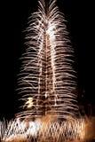 Πυροτεχνήματα εγκαινίασης Khalifa Burj Στοκ Φωτογραφία