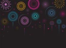 Πυροτεχνήματα και υπόβαθρο εορτασμού, νικητής, αφίσα νίκης απεικόνιση αποθεμάτων