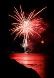 Πυροτεχνήματα και φεγγάρι 3 Στοκ φωτογραφία με δικαίωμα ελεύθερης χρήσης