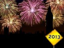 Πυροτεχνήματα καλής χρονιάς Λονδίνο Στοκ φωτογραφία με δικαίωμα ελεύθερης χρήσης