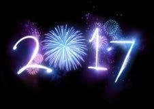 2017 πυροτεχνήματα καλής χρονιάς Στοκ Εικόνα