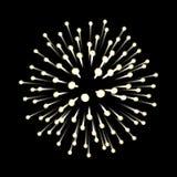 Πυροτεχνήματα νέο έτος εορτασμού Εορταστική διακόσμηση νύχτας, στοιχείο σχεδίου Απομονωμένη διάνυσμα απεικόνιση στο Μαύρο Στοκ Φωτογραφίες