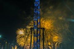 Πυροτεχνήματα που γιορτάζουν το κινεζικό νέο έτος στη Σιγκαπούρη Στοκ Εικόνες