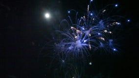Πυροτεχνήματα σε έναν μαύρο ουρανό απόθεμα βίντεο