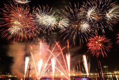 πυροτεχνήματα Σινγκαπού&rh Στοκ Φωτογραφία