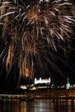 πυροτεχνήματα Σλοβακία της Βρατισλάβα στοκ εικόνα