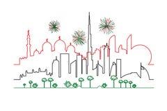 Πυροτεχνήματα στα Ε.Α.Ε. Ντουμπάι και τις πόλεις του Αμπού Νταμπί στο συνταγματάρχη εθνικών σημαιών Στοκ φωτογραφία με δικαίωμα ελεύθερης χρήσης