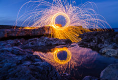 Πυροτεχνήματα στην ακτή της Μαύρης Θάλασσας Στοκ εικόνα με δικαίωμα ελεύθερης χρήσης