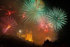 Πυροτεχνήματα στη βασιλική Fourviere Στοκ Εικόνες