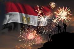 Πυροτεχνήματα στη ημέρα της ανεξαρτησίας της Αιγύπτου στοκ φωτογραφία