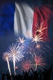 Πυροτεχνήματα στη ημέρα της ανεξαρτησίας της Γαλλίας στοκ φωτογραφίες