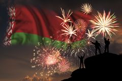 Πυροτεχνήματα στη ημέρα της ανεξαρτησίας της Λευκορωσίας στοκ φωτογραφίες
