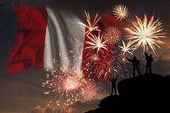 Πυροτεχνήματα στη ημέρα της ανεξαρτησίας του Περού στοκ εικόνα
