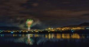 Πυροτεχνήματα στη λιμνοθάλασσα Στοκ Εικόνες