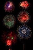 Πυροτεχνήματα στο υπόβαθρο νυχτερινού ουρανού Στοκ φωτογραφίες με δικαίωμα ελεύθερης χρήσης