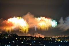 Πυροτεχνήματα την ημέρα νίκης Στοκ Φωτογραφίες
