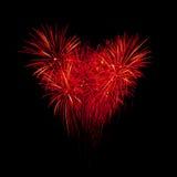 Πυροτεχνήματα φλογών στη μορφή καρδιών Στοκ Φωτογραφίες