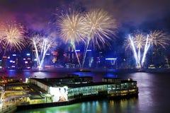 πυροτεχνήματα Χογκ Κογκ Στοκ Φωτογραφία