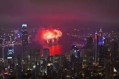 Πυροτεχνήματα Χονγκ Κονγκ στο κινεζικό νέο έτος Στοκ Φωτογραφίες