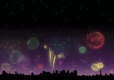 πυροτεχνήματα Χριστουγέ& Στοκ Εικόνα