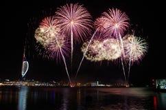 Πυροτεχνήματα Gunwharf, Πόρτσμουθ Στοκ Φωτογραφίες