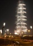 Πυροτεχνήματα Khalifa Burj Στοκ Φωτογραφία