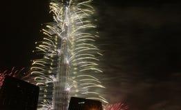 Πυροτεχνήματα Khalifa Burj Στοκ εικόνα με δικαίωμα ελεύθερης χρήσης