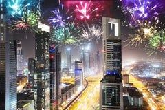 Πυροτεχνήματα Sheikh στο δρόμο Zayed τη νύχτα Στοκ Φωτογραφία