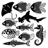 Πυροδοτήστε τα διαφορετικά ψάρια που απομονώθηκαν στο άσπρο υπόβαθρο Στοκ φωτογραφίες με δικαίωμα ελεύθερης χρήσης