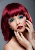 πυρόξανθο θηλυκό τρίχωμα makeup αρκετά νέο Στοκ Εικόνα