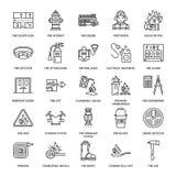 Πυρόσβεση, επίπεδα εικονίδια γραμμών εξοπλισμού πυρασφάλειας Πυροσβέστης, πυροσβεστήρας πυροσβεστικών αντλιών, ανιχνευτής καπνού, απεικόνιση αποθεμάτων