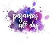 Πυτζάμες όλη την ημέρα - γράφοντας κείμενο διανυσματική απεικόνιση