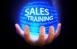 Πωλήσεις που εκπαιδεύουν το μπλε υποβάθρου σφαιρών ελεύθερη απεικόνιση δικαιώματος