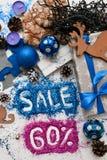 Πωλήσεις στα Χριστούγεννα και τις νέες διακοπές έτους Στοκ Εικόνες