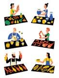 Πωλητές στην αγορά, χαρακτήρες κινουμένων σχεδίων Εποχιακή υπαίθρια αγορά, φεστιβάλ τροφίμων οδών Διανυσματική επίπεδη απεικόνιση διανυσματική απεικόνιση