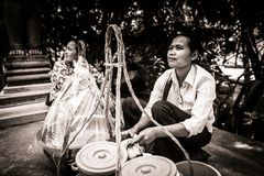 Πωλητής απωλειών ταχύτητος στηρίξεως τροφίμων οδών ερήμων στην Καμπότζη Στοκ Εικόνες