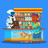Πωλητής ρίζας στο κατάστημα με τον αγοραστή κοντά στο διάνυσμα ταμιών απομονωμένη ωθώντας s κουμπιών γυναίκα έναρξης χεριών απεικ διανυσματική απεικόνιση
