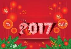 Πωλήσεις Χριστουγέννων - σύμβολο 2017 - κόκκορας Στοκ φωτογραφίες με δικαίωμα ελεύθερης χρήσης