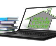 Πωλήστε τα μέσα εγχώριων ταμπλετών σπιτιών σας βρίσκει τους αγοραστές ιδιοκτησιών απεικόνιση αποθεμάτων