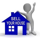 Πωλήστε το σπίτι σπιτιών σας παρουσιάζει τοποθέτηση της ιδιοκτησίας ελεύθερη απεικόνιση δικαιώματος