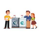 Πωλητής καταστημάτων που παρουσιάζει πλυντήρια στους πελάτες απεικόνιση αποθεμάτων