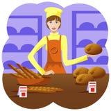Πωλητής κοριτσιών στο αρτοποιείο Στοκ εικόνα με δικαίωμα ελεύθερης χρήσης