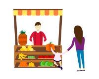 Πωλητής οδών με τη διανυσματική απεικόνιση φρούτων και λαχανικών στάβλων Στοκ Εικόνες
