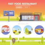 Πωλώντας γρήγορο φαγητό εστιατορίων Storefront Απεικόνιση αποθεμάτων