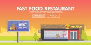 Πωλώντας γρήγορο φαγητό εστιατορίων Storefront Ελεύθερη απεικόνιση δικαιώματος