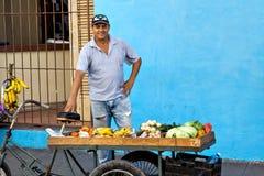 Πωλώντας φρούτα και λαχανικά πλανόδιων πωλητών στο ποδήλατό του στις οδούς του Camaguey, Κούβα Στοκ φωτογραφία με δικαίωμα ελεύθερης χρήσης