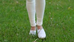 Πόδια γυναικών στα άσπρα παπούτσια που οργανώνονται στον πράσινο τομέα, πικραλίδα αφής απόθεμα βίντεο